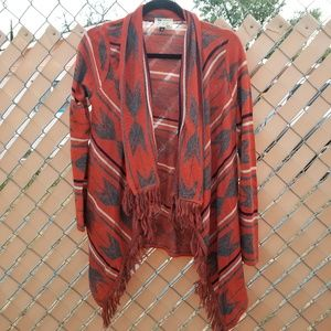 Say What open front waterfall cardigan tribal